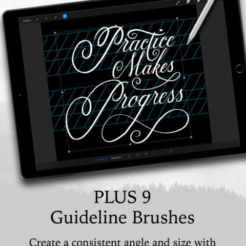 Calligraphy Guidelines Brushes for Procreate
