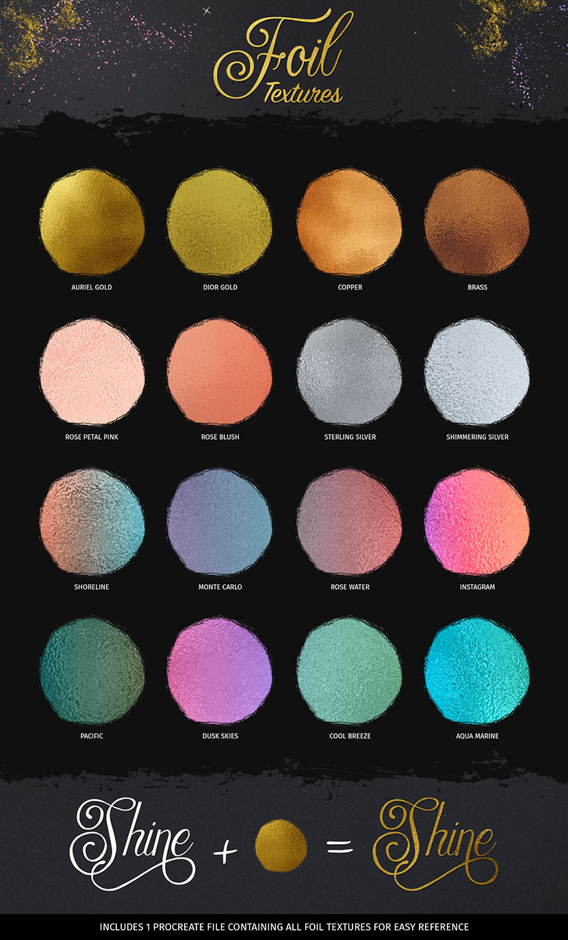 Foil Textures for Procreate including gold foil, rose, silver, aqua and copper