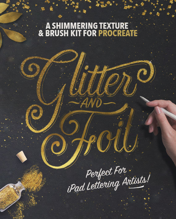 Glitter and Foil Kit for Procreate – Textures and Brushes