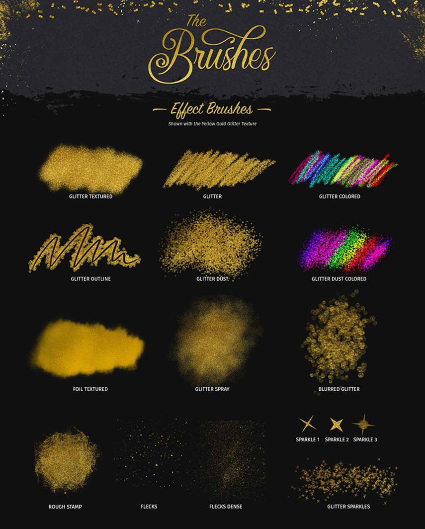 Glitter and Foil Kit for Procreate - Effects Brushes