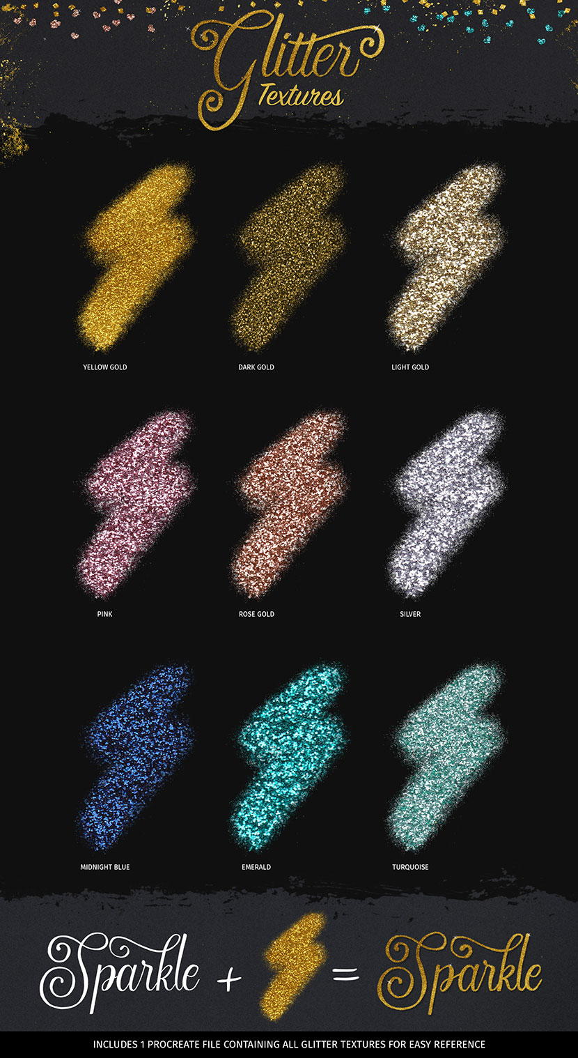 Glitter and Foil Kit for Procreate - Glitter Textures