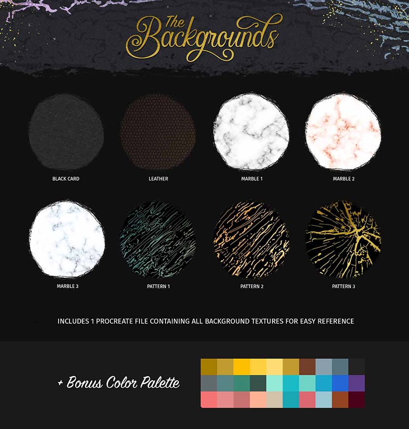 Glitter and Foil Kit for Procreate - Background Textures
