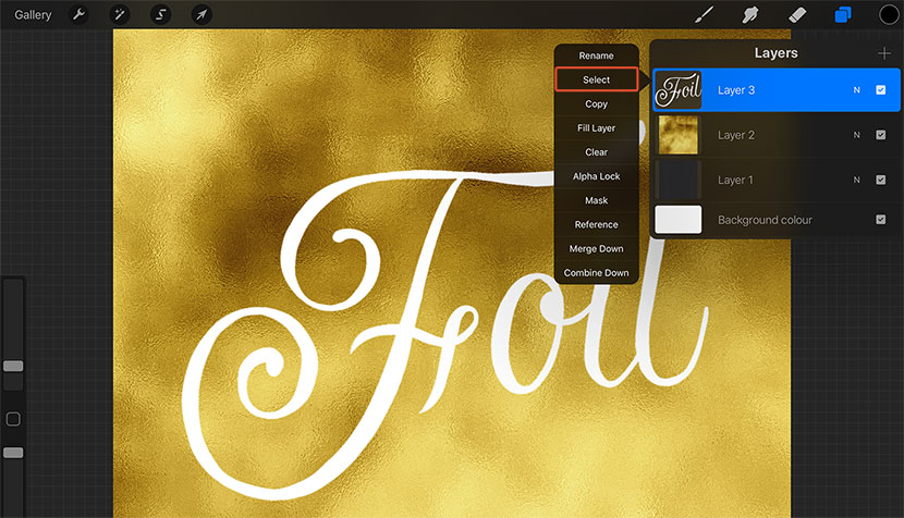 Create Gold Foil Lettering in Procreate – iPad Calligraphy