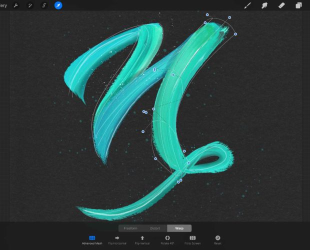 Streaky Paint Lettering Tutorial in Procreate 4.1 using the warp tool