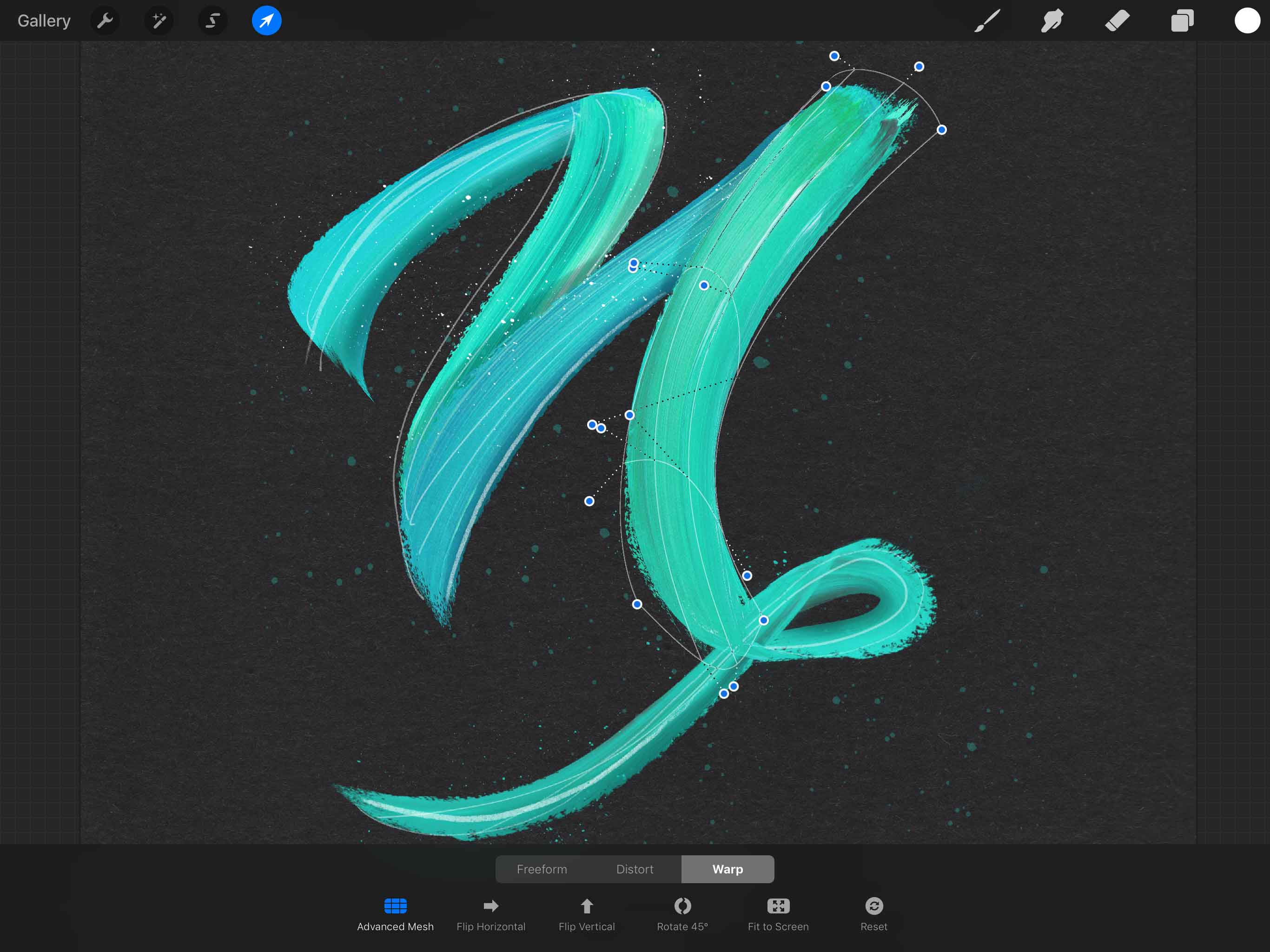 Streaky Paint Lettering in Procreate [includes free texture