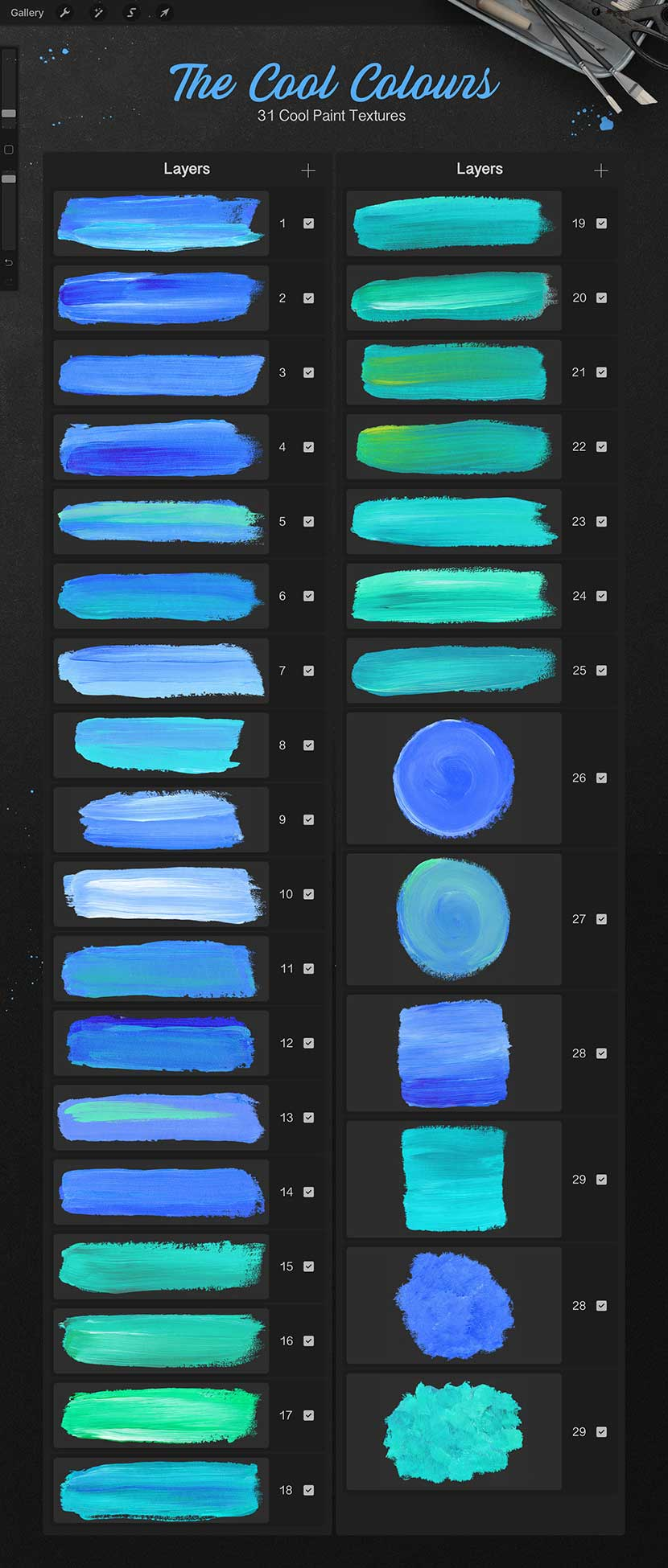 Pencils and Paint Texture Kit for Procreate