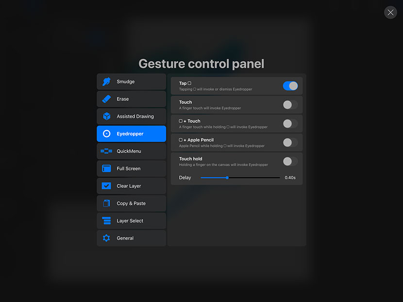 Procreate 4.1 - Colour Picker Gesture
