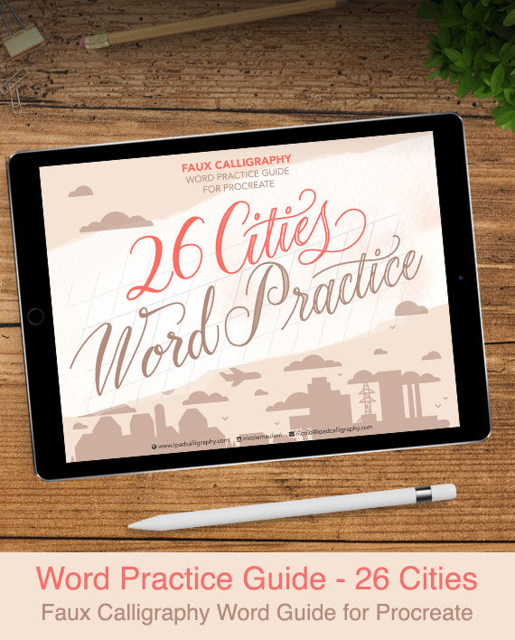 Faux Calligraphy Word Practice Guide for Procreate - 26 Cities