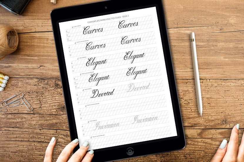 Copperplate Calligraphy on the iPad - Free word guides