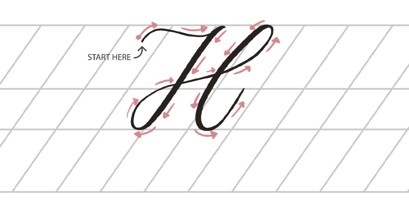 Calligraphy stroke direction Uppercase H - thick and thin strokes
