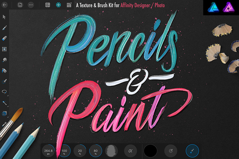 Pencils and Paint Texture Kit for Affinity Designer