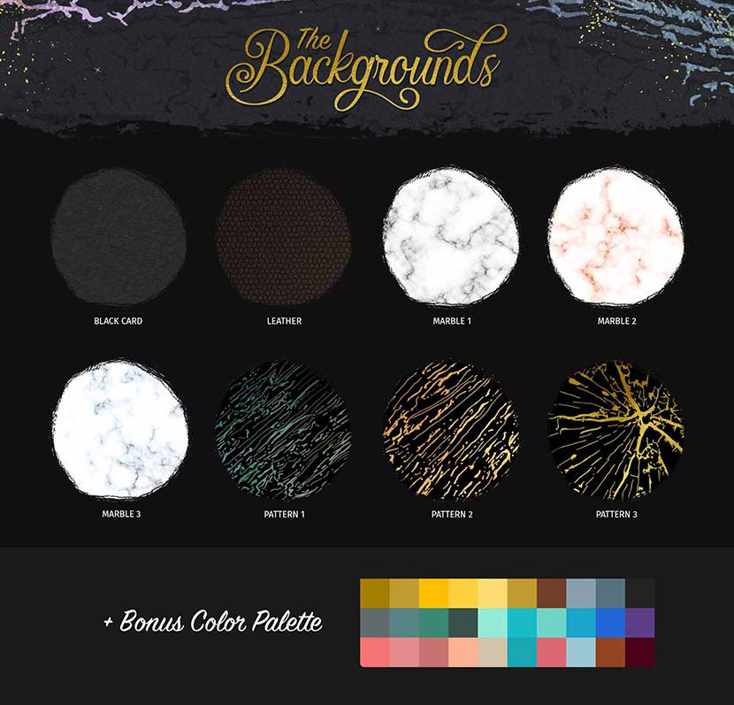 Glitter and Foil Kit for Affinity Designer - Backgrounds