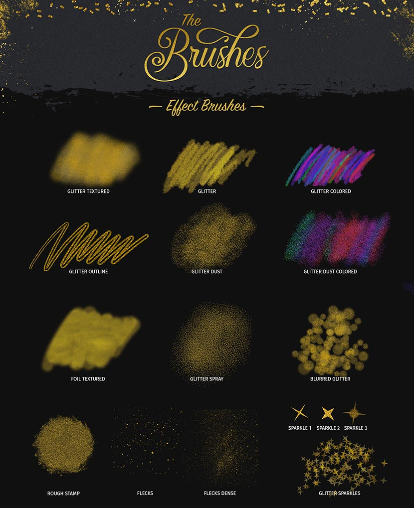 Glitter and Foil Kit for Affinity Designer - Effects Brushes