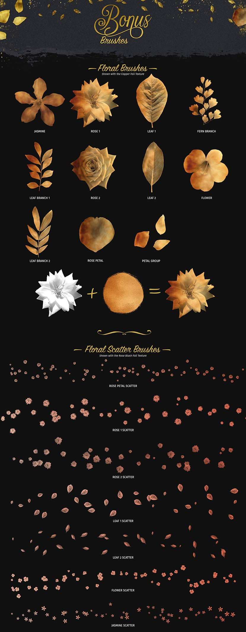 Glitter and Foil Kit for Affinity Designer - Bonus Floral Brushes