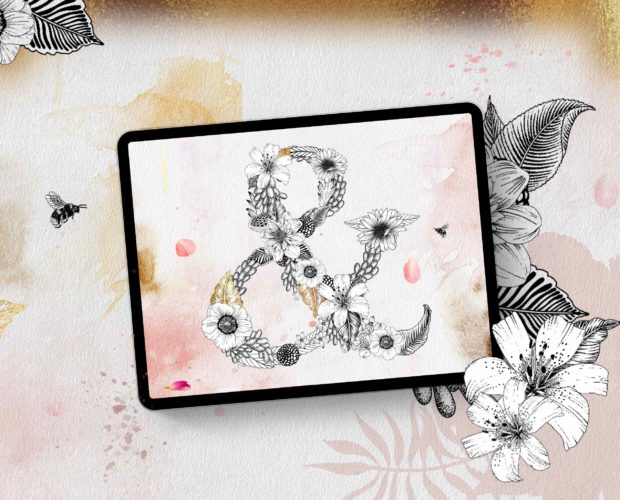 Create Stunning Floral Letter with Watercolor Background in Procreate